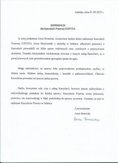 Referencja od Anny Bronickiej