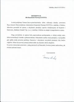 Referencja od Tomasza Łaty